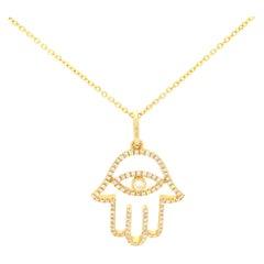 Rachel Koen 18k Yellow Gold Diamond Hamsa Pendant 0.30cttw