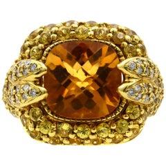 Rachel Koen Citrine with Yellow Sapphires and Diamonds 18 Karat Yellow Gold Ring