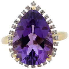 Rachel Koen Large Pear-Shaped Amethyst Cocktail Ring with Diamond Halo