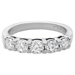 Rachel Koen Platinum 5 Diamond Shared Prong Wedding Band 1.00 Carat