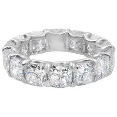Rachel Koen Platinum Cushion Diamond Eternity Band 8.34 Carat