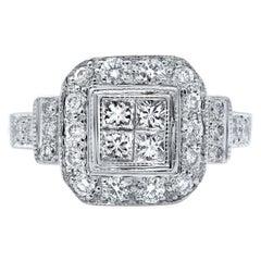 Rachel Koen White Gold Princess Cut Center Halo Engagement Ring 1.00 Carat