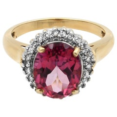 Rachel Koen Yellow Gold Oval Pink Tourmaline Diamond Halo Engagement Ring