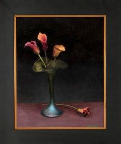 Calla Lillies in Green Iridescent Vase
