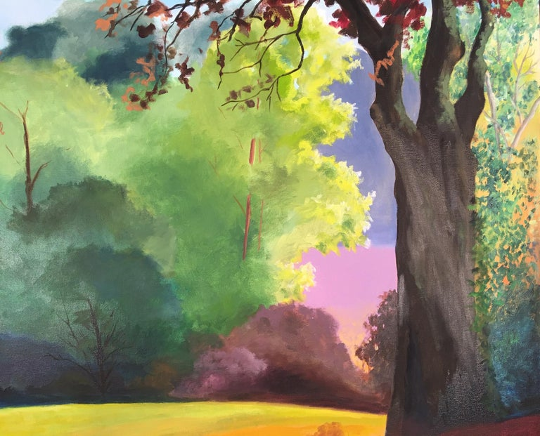 Early Spring in a Tuscan Forest - Contemporary Painting by Rachel Newman