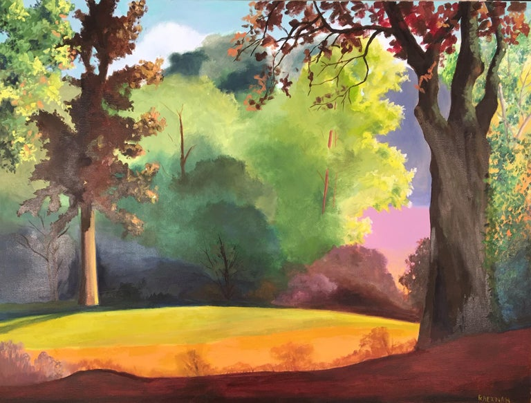 Early Spring in a Tuscan Forest - Painting by Rachel Newman