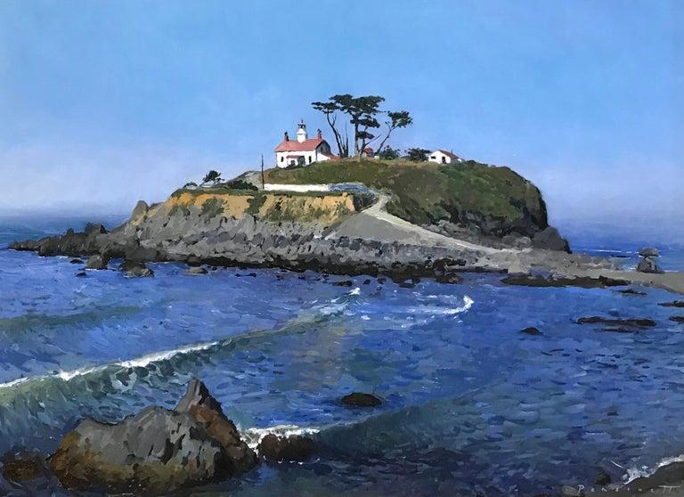 Rachel Personett Landscape Painting - Battery Point Lighthouse