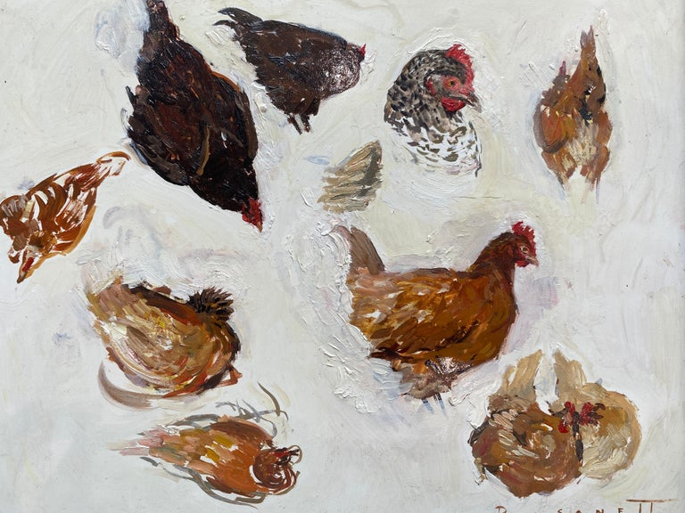 Hen Sketches - American Realist Painting by Rachel Personett