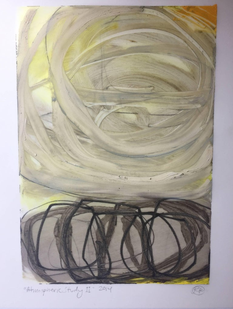 Rachelle Krieger Abstract Painting - Atmospheric Study 11, oil and graphite on paper, 10 x 7 inches. Bold brushwork