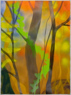 Cornucopia, bright yellow and orange abstract landscape painting, trees