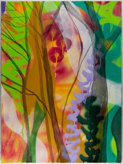 Fantastical Botanical, bright, multicolored abstracted landscape painting
