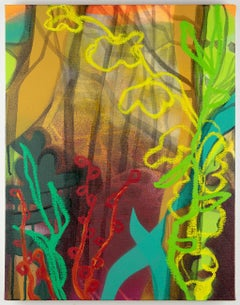 Night Blooms, multicolored abstract landscape painting, green and orange