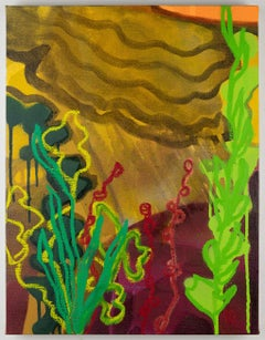 Nocturnal Weeds, multicolored abstract landscape painting, flora at night