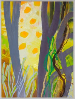 Pandemic Poetry, abstracted landscape painting, trees in the forest