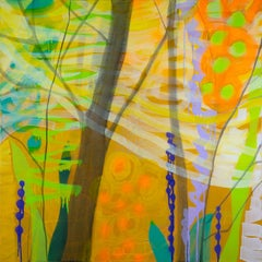 Transformations, bright yellow and orange abstracted landscape, forest