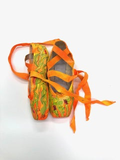 The Rite of Spring, orange and green flashe on ballet shoes, mixed media