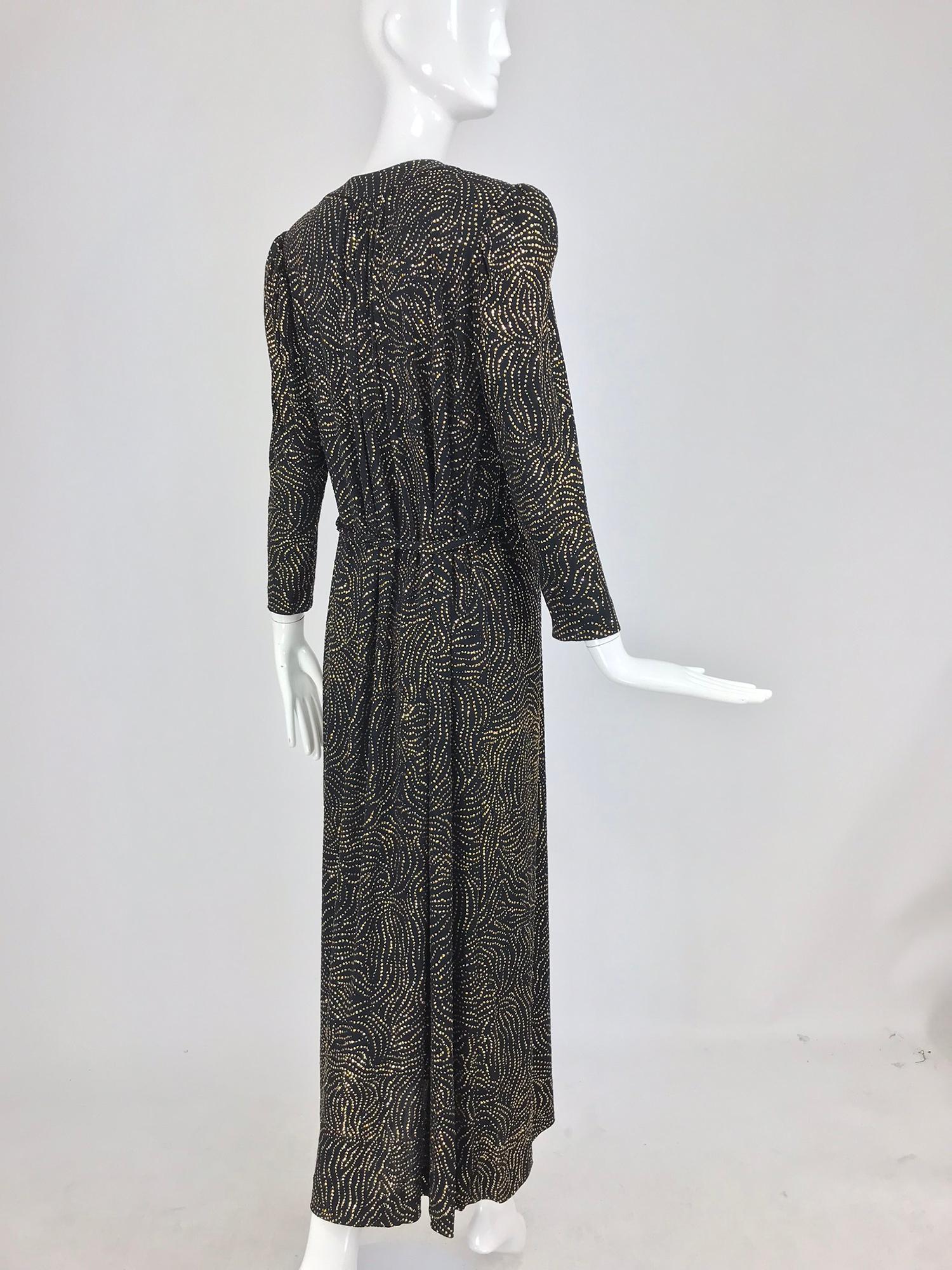 8ef76f9058c Racine Paris black and gold glitter Maxi dress with Tassel belt 1970s For  Sale at 1stdibs