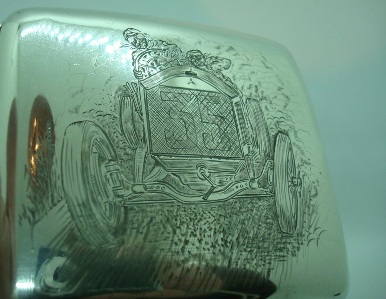 English Racing Car Sterling Cigarette Case, Mercedes Benz, circa 1918 For Sale