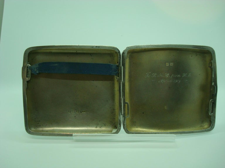 Early 20th Century Racing Car Sterling Cigarette Case, Mercedes Benz, circa 1918 For Sale
