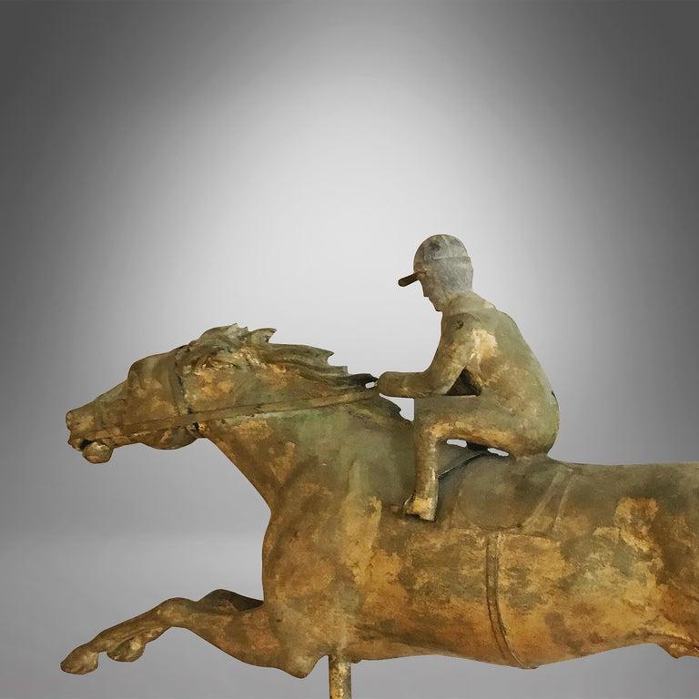 Folk Art Racing Horse and Jockey Weathervane For Sale