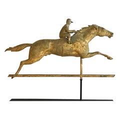 Racing Horse and Jockey Weathervane