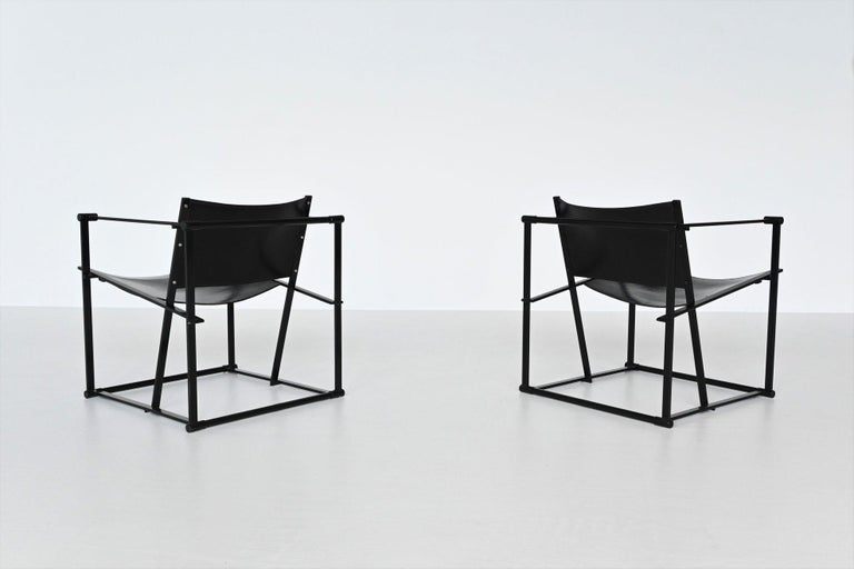 Powder-Coated Radboud Van Beekum FM61 Cubic Lounge Chairs Pastoe the Netherlands, 1980 For Sale