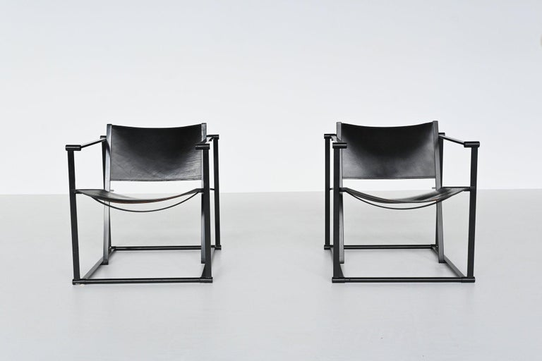 Leather Radboud Van Beekum FM61 Cubic Lounge Chairs Pastoe the Netherlands, 1980 For Sale