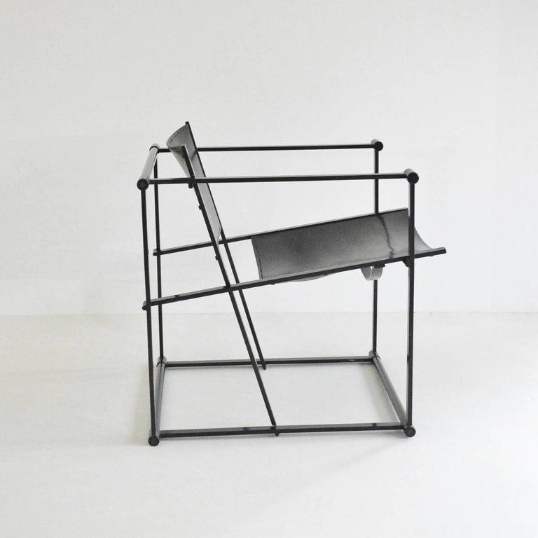 De Stijl Radboud Van Beekum FM62 Cube Chair in Black Leather For Sale