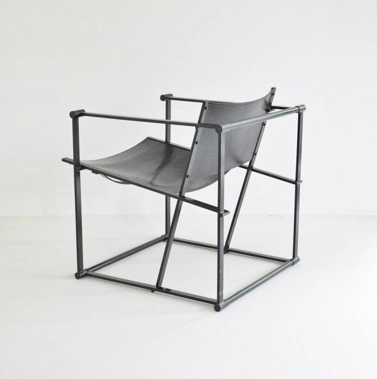 Dutch Radboud Van Beekum FM62 Cube Chair in Black Leather For Sale