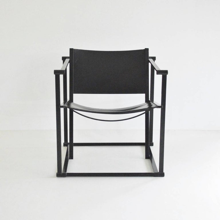 Radboud Van Beekum FM62 Cube Chair in Black Leather In Excellent Condition For Sale In London, GB