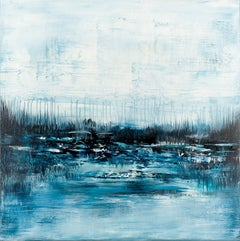 Blue abstract landscape AS027, Painting, Acrylic on Canvas