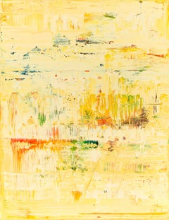 Yellow abstract painting YP473, Painting, Acrylic on Canvas