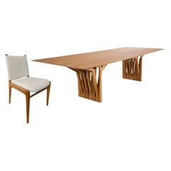 "98"" Radi Dining Table and Eight Cappio Chair in Teak, Set"