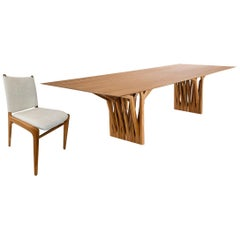 Radi Dining Table and Ten Cappio Chair in Teak, Set