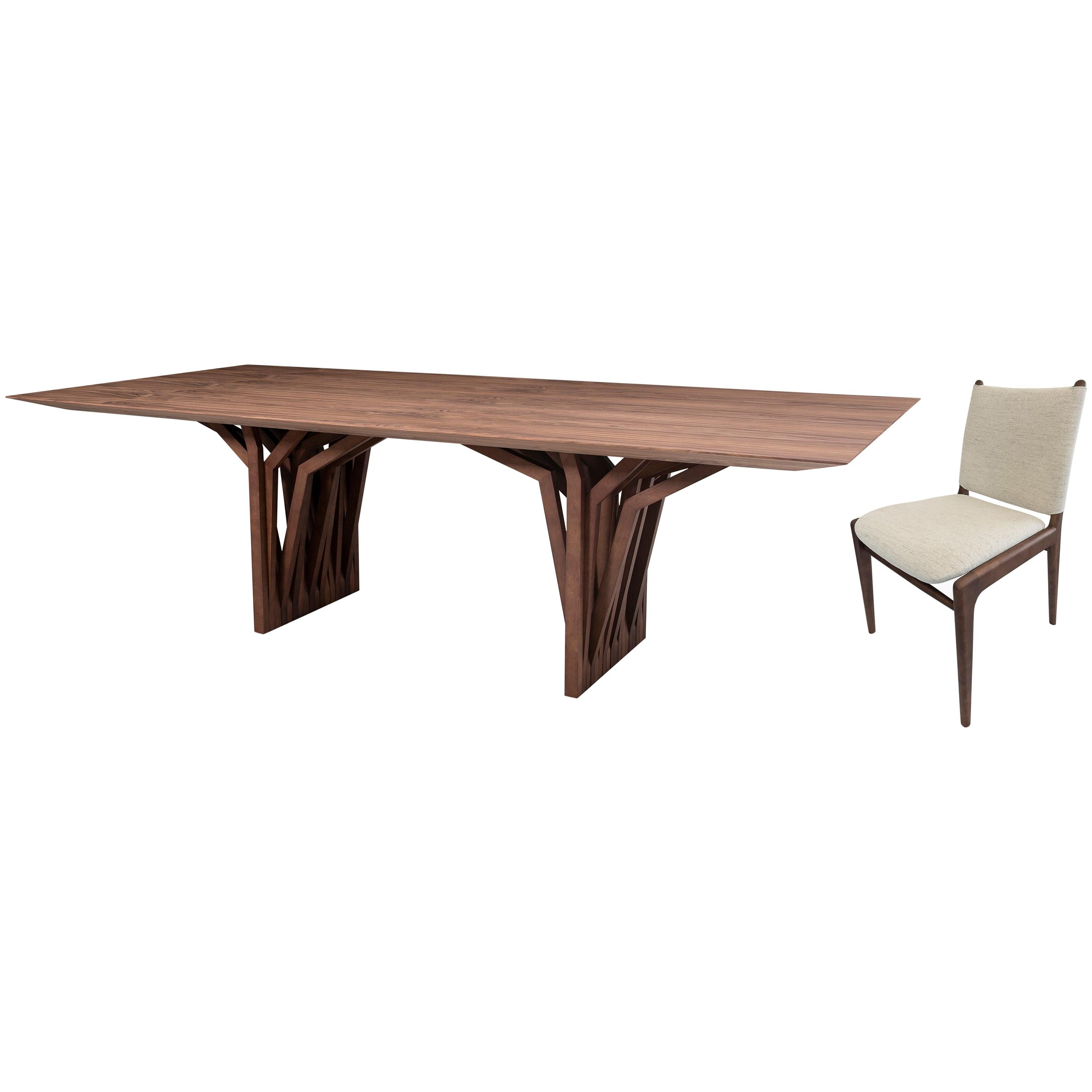 Radi Dining Table and Ten Cappio Chairs in Walnut, Set