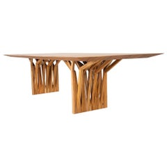 Radi Dining Table with Roofing Anchor Table Base in Teak Finish