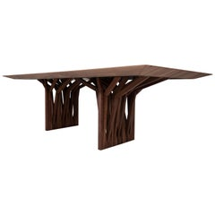 Radi Dining Table with Roofing Anchor Table Base in Walnut