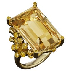 JAG New York 18 Karat Yellow Citrine with Yellow Diamonds Ring