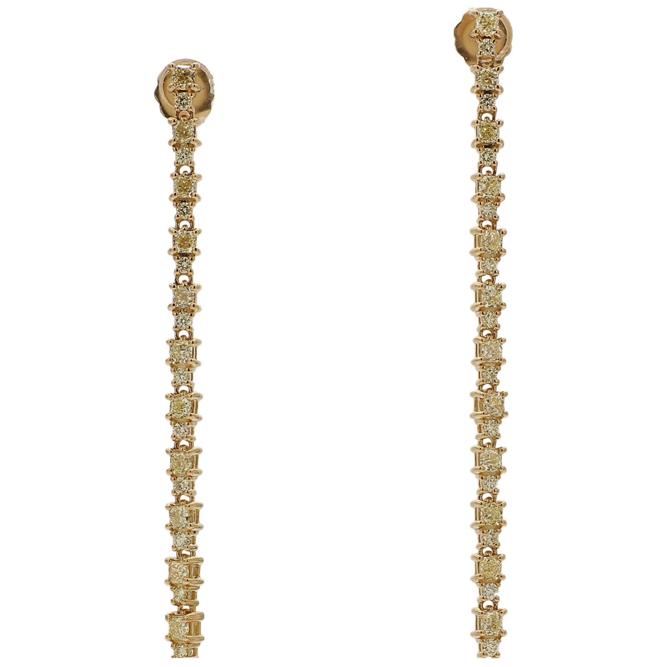 Natural Radiant and Round Yellow Diamond Straight Line Earrings 2.04 Carats