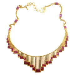 Radiant Art Deco Mosaic 20 Karat Yellow Gold Ruby Coomi Necklace