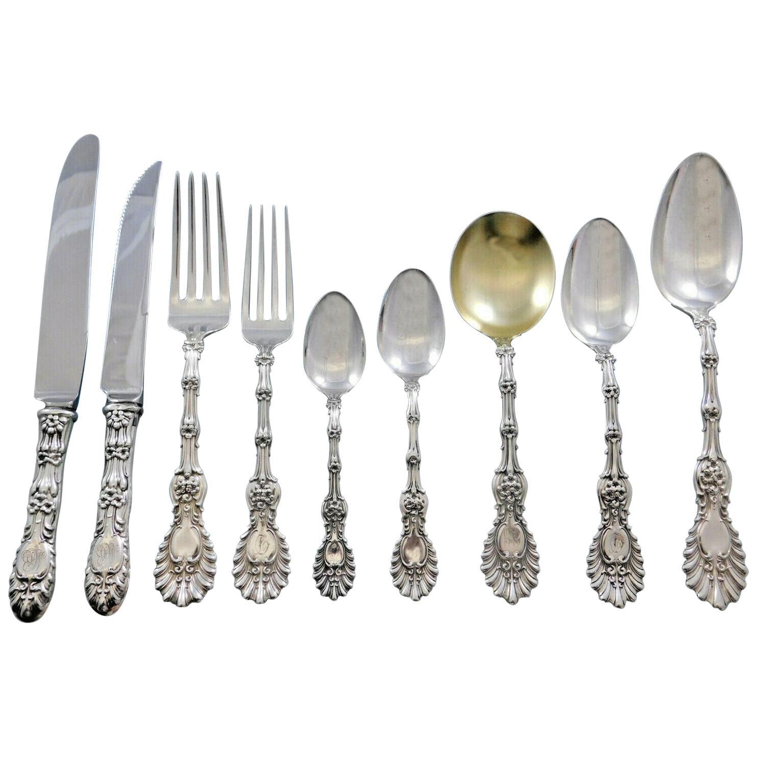 Radiant by Whiting Sterling Silver Flatware Set for 6 Service 63 Pieces