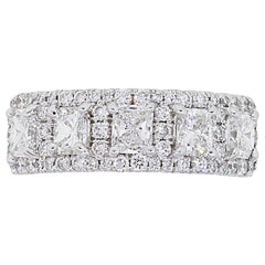 Radiant Cut and Round Brilliant Diamond Ring