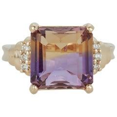 Radiant Cut Bicolor Ametrine Amethyst Citrine Ring White Diamond 14 Karat Gold
