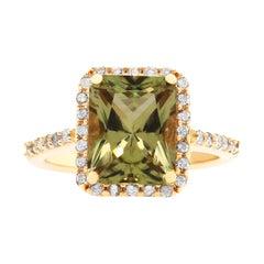 Radiant Cut Color Changing Diaspore Halo Engagement Ring