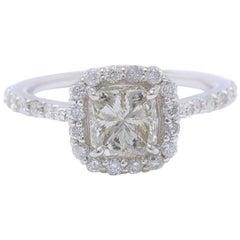 Radiant Cut Diamond Engagement Ring 1.70 Carat Halo Design in 14 Karat Gold