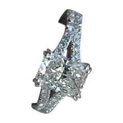 Radiant Cut Diamond Engagement Ring, Split Shank 1.5 Center, 2.1 Carat Total