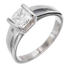 1.00 Carat Radiant Cut Diamond White Gold Solitaire Engagement Ring