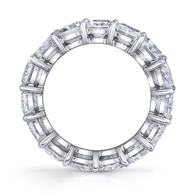 15 Radiant Cut Diamonds set in platinum eternity band ring. 10.90 carats total weight All stones are certified by GIA. Colors H - I Clarity VVS1 - VS2 Ring Size 6.5