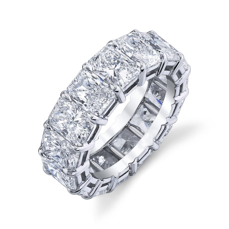 Radiant Cut Diamonds Eternity Band In New Condition For Sale In Wailea, HI