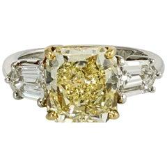 Radiant Cut Fancy Yellow Three-Stone Diamond Engagement Ring